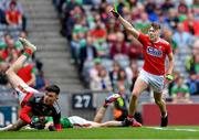 10 August 2019; Daniel Linehan of Cork celebrates scoring his side's second goal during the Electric Ireland GAA Football All-Ireland Minor Championship Semi-Final match between Cork and Mayo at Croke Park in Dublin. Photo by Piaras Ó Mídheach/Sportsfile