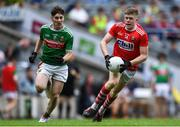10 August 2019; Conor Corbett of Cork in action against Owen McHale of Mayo during the Electric Ireland GAA Football All-Ireland Minor Championship Semi-Final match between Cork and Mayo at Croke Park in Dublin. Photo by Piaras Ó Mídheach/Sportsfile