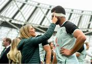 10 August 2019; Jean Kleyn of Ireland with girlfriend Aisling Kelly following the Guinness Summer Series 2019 match between Ireland and Italy at the Aviva Stadium in Dublin. Photo by David Fitzgerald/Sportsfile
