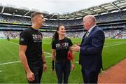 10 August 2019; GAA President John Horan, boxing world champion Kellie Harrington and Cavan footballer Killian Clarke launching 20x20's #ShowYourStripes & Go See For Yourself with the GAA before the GAA Football All-Ireland Senior Championship Semi-Final match between Dublin and Mayo at Croke Park in Dublin. Photo by Ray McManus/Sportsfile
