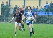 10 August 2019; Emma Murray of Waterford in action against Leanne Coen of Galway during the TG4 All-Ireland Ladies Football Senior Championship Quarter-Final match between Galway and Waterford at Glennon Brothers Pearse Park in Longford. Photo by Matt Browne/Sportsfile