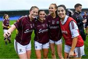 10 August 2019; Galway players, from left, Sarah Connrally, Charlotte Cooney, Olivia Divolly and Lisa Murphy celebrate after the TG4 All-Ireland Ladies Football Senior Championship Quarter-Final match between Galway and Waterford at Glennon Brothers Pearse Park in Longford. Photo by Matt Browne/Sportsfile