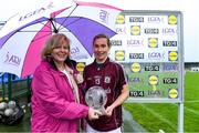 10 August 2019; Tracey Leonard of Galway receives the Player of the Match award from Marie Hickey, President, Ladies Gaelic Football Association, following the TG4 All-Ireland Ladies Football Senior Championship Quarter-Final match between Galway and Waterford at Glennon Brothers Pearse Park in Longford. Photo by Matt Browne/Sportsfile