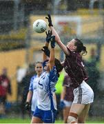 10 August 2019; Aine McDonagh of Galway in action against Kate McGrath of Waterford during the TG4 All-Ireland Ladies Football Senior Championship Quarter-Final match between Galway and Waterford at Glennon Brothers Pearse Park in Longford. Photo by Matt Browne/Sportsfile