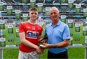 10 August 2019; Patrick Campbell of Cork is presented with the Electric Ireland Man of the Match award by Vincent Litchfield, Customer Relationship Manager, Electric Ireland, following the Electric Ireland GAA Football All-Ireland Minor Championship Semi-Final match between Cork and Mayo at Croke Park in Dublin. Photo by Ramsey Cardy/Sportsfile