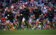 10 August 2019; Dublin players, including Dean Rock and Stephen Cluxton, run out prior to the GAA Football All-Ireland Senior Championship Semi-Final match between Dublin and Mayo at Croke Park in Dublin. Photo by Stephen McCarthy/Sportsfile