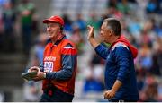 10 August 2019; Cork manager Bobby O'Dwyer, left, is congratulated by his backroom team at the final whistle following the Electric Ireland GAA Football All-Ireland Minor Championship Semi-Final match between Cork and Mayo at Croke Park in Dublin. Photo by Sam Barnes/Sportsfile