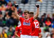 10 August 2019; Daniel Peet of Cork celebrates following the Electric Ireland GAA Football All-Ireland Minor Championship Semi-Final match between Cork and Mayo at Croke Park in Dublin. Photo by Sam Barnes/Sportsfile