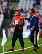 10 August 2019; Cork manager Bobby O'Dwyer is congratulated by his backroom team at the final whistle following the Electric Ireland GAA Football All-Ireland Minor Championship Semi-Final match between Cork and Mayo at Croke Park in Dublin. Photo by Sam Barnes/Sportsfile