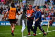 10 August 2019; Cork manager Bobby O'Dwyer, centre, is congratulated by his backroom team at the final whistle following the Electric Ireland GAA Football All-Ireland Minor Championship Semi-Final match between Cork and Mayo at Croke Park in Dublin. Photo by Sam Barnes/Sportsfile