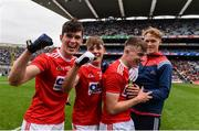 10 August 2019; Cork players, including, from left,  Shane Aherne, Darragh Cashman and Daniel Linehan, celebrate following the Electric Ireland GAA Football All-Ireland Minor Championship Semi-Final match between Cork and Mayo at Croke Park in Dublin. Photo by Sam Barnes/Sportsfile