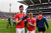10 August 2019; Shane Aherne, left, and Sean Andrews of Cork celebrate following the Electric Ireland GAA Football All-Ireland Minor Championship Semi-Final match between Cork and Mayo at Croke Park in Dublin. Photo by Sam Barnes/Sportsfile