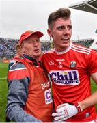10 August 2019; Cork manager Bobby O'Dwyer and Kelan Scannell of Cork celebrate following the Electric Ireland GAA Football All-Ireland Minor Championship Semi-Final match between Cork and Mayo at Croke Park in Dublin. Photo by Sam Barnes/Sportsfile