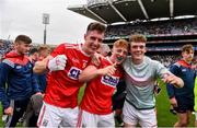 10 August 2019; Cork players, from left, Kelan Scannell, Ryan O'Donovan and Hugh Murphy celebrate following the Electric Ireland GAA Football All-Ireland Minor Championship Semi-Final match between Cork and Mayo at Croke Park in Dublin. Photo by Sam Barnes/Sportsfile
