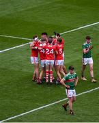 10 August 2019; Cork players celebrate after the Electric Ireland GAA Football All-Ireland Minor Championship Semi-Final match between Cork and Mayo at Croke Park in Dublin. Photo by Daire Brennan/Sportsfile