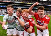 10 August 2019; Cork players, including  Jack Cahalane, second from right, and Luke Murphy of Cork, far right, celebrate following the Electric Ireland GAA Football All-Ireland Minor Championship Semi-Final match between Cork and Mayo at Croke Park in Dublin. Photo by Sam Barnes/Sportsfile