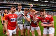 10 August 2019; Cork players, including Nathan Gough, left, Jack Cahalane, second from right, and Luke Murphy of Cork, celebrate following  the Electric Ireland GAA Football All-Ireland Minor Championship Semi-Final match between Cork and Mayo at Croke Park in Dublin. Photo by Sam Barnes/Sportsfile