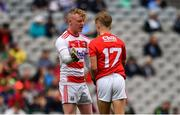 10 August 2019; Cian O'Leary of Cork, left, and Sean Andrews of Cork celebrate their sides third goal during the Electric Ireland GAA Football All-Ireland Minor Championship Semi-Final match between Cork and Mayo at Croke Park in Dublin. Photo by Sam Barnes/Sportsfile