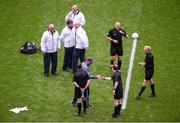 10 August 2019; Dublin manager Jim Gavin shakes hands with the match officials ahead of the GAA Football All-Ireland Senior Championship Semi-Final match between Dublin and Mayo at Croke Park in Dublin. Photo by Daire Brennan/Sportsfile