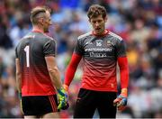 10 August 2019; Mayo goalkeepers Rob Hennelly, left, and David Clarke before the GAA Football All-Ireland Senior Championship Semi-Final match between Dublin and Mayo at Croke Park in Dublin. Photo by Piaras Ó Mídheach/Sportsfile