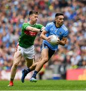 10 August 2019; Niall Scully of Dublin in action against Cillian O'Connor of Mayo during the GAA Football All-Ireland Senior Championship Semi-Final match between Dublin and Mayo at Croke Park in Dublin. Photo by Ramsey Cardy/Sportsfile
