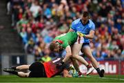 10 August 2019; Con O'Callaghan of Dublin in action against Rob Hennelly, left, and Colm Boyle of Mayo during the GAA Football All-Ireland Senior Championship Semi-Final match between Dublin and Mayo at Croke Park in Dublin. Photo by Sam Barnes/Sportsfile
