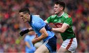 10 August 2019; Brian Fenton of Dublin in action against Matthew Ruane of Mayo during the GAA Football All-Ireland Senior Championship Semi-Final match between Dublin and Mayo at Croke Park in Dublin. Photo by Sam Barnes/Sportsfile