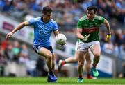 10 August 2019; David Byrne of Dublin in action against Diarmuid O'Connor of Mayo during the GAA Football All-Ireland Senior Championship Semi-Final match between Dublin and Mayo at Croke Park in Dublin. Photo by Piaras Ó Mídheach/Sportsfile