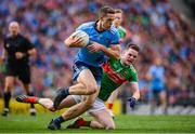 10 August 2019; Brian Fenton of Dublin in action against Matthew Ruane of Mayo during the GAA Football All-Ireland Senior Championship Semi-Final match between Dublin and Mayo at Croke Park in Dublin. Photo by Stephen McCarthy/Sportsfile