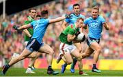 10 August 2019; Colm Boyle of Mayo in action against John Small, left, and Jonny Cooper of Dublin during the GAA Football All-Ireland Senior Championship Semi-Final match between Dublin and Mayo at Croke Park in Dublin. Photo by Ramsey Cardy/Sportsfile