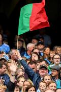 10 August 2019; Mayo supporter Peadar Staunton flies the flag during the GAA Football All-Ireland Senior Championship Semi-Final match between Dublin and Mayo at Croke Park in Dublin. Photo by Ray McManus/Sportsfile