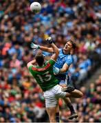 10 August 2019; Cillian O'Connor of Mayo in action against Michael Fitzsimons of Dublin during the GAA Football All-Ireland Senior Championship Semi-Final match between Dublin and Mayo at Croke Park in Dublin. Photo by Ramsey Cardy/Sportsfile