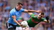 10 August 2019; Brian Howard of Dublin in action against Séamus O'Shea of Mayo during the GAA Football All-Ireland Senior Championship Semi-Final match between Dublin and Mayo at Croke Park in Dublin. Photo by Stephen McCarthy/Sportsfile
