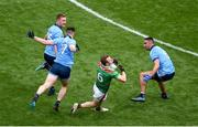 10 August 2019; Colm Boyle of Mayo in action against John Small, left, and James McCarthy of Dublin during the GAA Football All-Ireland Senior Championship Semi-Final match between Dublin and Mayo at Croke Park in Dublin. Photo by Daire Brennan/Sportsfile