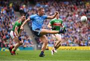10 August 2019; Ciarán Kilkenny of Dublin kicks a ball which hit the post during the GAA Football All-Ireland Senior Championship Semi-Final match between Dublin and Mayo at Croke Park in Dublin. Photo by Stephen McCarthy/Sportsfile