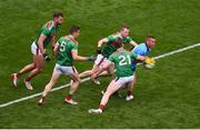 10 August 2019; Con O'Callaghan of Dublin in action against Mayo players, left to right, Aidan O'Shea, Lee Keegan, Donal Vaughan, and Colm Boyle during the GAA Football All-Ireland Senior Championship Semi-Final match between Dublin and Mayo at Croke Park in Dublin. Photo by Daire Brennan/Sportsfile