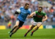 10 August 2019; Dean Rock of Dublin in action against Chris Barrett of Mayo during the GAA Football All-Ireland Senior Championship Semi-Final match between Dublin and Mayo at Croke Park in Dublin. Photo by Ramsey Cardy/Sportsfile