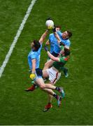 10 August 2019; Michael Darragh Macauley, left, and John Small of Dublin in action against Matthew Ruane of Mayo during the GAA Football All-Ireland Senior Championship Semi-Final match between Dublin and Mayo at Croke Park in Dublin. Photo by Daire Brennan/Sportsfile