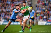 10 August 2019; Diarmuid O'Connor of Mayo in action against Niall Scully of Dublin during the GAA Football All-Ireland Senior Championship Semi-Final match between Dublin and Mayo at Croke Park in Dublin. Photo by Sam Barnes/Sportsfile