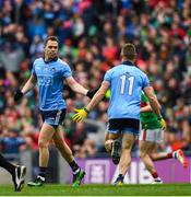10 August 2019; Con O'Callaghan of Dublin celebrates with Dean Rock, left, after scoring his side's second goal during the GAA Football All-Ireland Senior Championship Semi-Final match between Dublin and Mayo at Croke Park in Dublin. Photo by Ramsey Cardy/Sportsfile