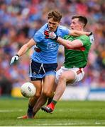 10 August 2019; Michael Fitzsimons of Dublin and Cillian O'Connor of Mayo during the GAA Football All-Ireland Senior Championship Semi-Final match between Dublin and Mayo at Croke Park in Dublin. Photo by Stephen McCarthy/Sportsfile