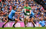 10 August 2019; Lee Keegan of Mayo in action against Michael Fitzsimons of Dublin on his way to score his side's first goal during the GAA Football All-Ireland Senior Championship Semi-Final match between Dublin and Mayo at Croke Park in Dublin. Photo by Sam Barnes/Sportsfile