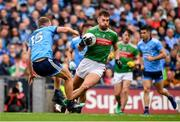 10 August 2019; Aidan O'Shea of Mayo in action against Ciaran Kilkenny of Dublin during the GAA Football All-Ireland Senior Championship Semi-Final match between Dublin and Mayo at Croke Park in Dublin. Photo by Sam Barnes/Sportsfile