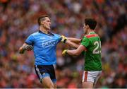 10 August 2019; Brian Fenton of Dublin tussles with Diarmuid O'Connor of Mayo during the GAA Football All-Ireland Senior Championship Semi-Final match between Dublin and Mayo at Croke Park in Dublin. Photo by Stephen McCarthy/Sportsfile