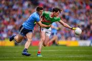 10 August 2019; Diarmuid O'Connor of Mayo in action against David Byrne of Dublin during the GAA Football All-Ireland Senior Championship Semi-Final match between Dublin and Mayo at Croke Park in Dublin. Photo by Stephen McCarthy/Sportsfile