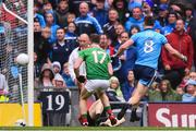 10 August 2019; Brian Fenton of Dublin shoots to score his side's third goal during the GAA Football All-Ireland Senior Championship Semi-Final match between Dublin and Mayo at Croke Park in Dublin. Photo by Stephen McCarthy/Sportsfile