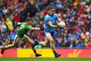 10 August 2019; Brian Fenton of Dublin is tackled by Eoin O'Donoghue of Mayo on his way to scoring his side's third goal during the GAA Football All-Ireland Senior Championship Semi-Final match between Dublin and Mayo at Croke Park in Dublin. Photo by Ramsey Cardy/Sportsfile