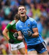 10 August 2019; Brian Fenton of Dublin celebrates after scoring his side's third goal during the GAA Football All-Ireland Senior Championship Semi-Final match between Dublin and Mayo at Croke Park in Dublin. Photo by Ramsey Cardy/Sportsfile