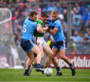 10 August 2019; Dublin players Jack McCaffrey left, and Johnny Cooper, right, in action against Patrick Durcan centre, of Mayo during the GAA Football All-Ireland Senior Championship Semi-Final match between Dublin and Mayo at Croke Park in Dublin. Photo by Stephen McCarthy/Sportsfile