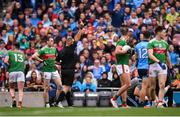 10 August 2019; Cillian O'Connor of Mayo receives a red card from referee Conor Lane during the GAA Football All-Ireland Senior Championship Semi-Final match between Dublin and Mayo at Croke Park in Dublin. Photo by Stephen McCarthy/Sportsfile